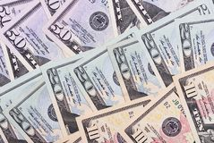 Abstrakt pengarbakgrund oss dollar av olika valörer Royaltyfri Fotografi