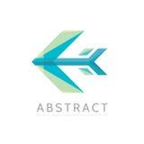 Abstrakt pil - illustration för begrepp för vektorlogomall i plan stil Stiliserat idérikt tecken för flygplan färgrikt designelem Fotografering för Bildbyråer
