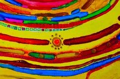 Abstrakt pittoresk sammansättning Dra med olje- målarfärger Gula strålar av solen, band, stjärnor, mitt Royaltyfri Foto