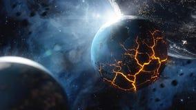 Abstrakt planet med enorma sprickor med lava i utrymme Beståndsdelar av denna avbildar möblerat av NASA Royaltyfria Bilder