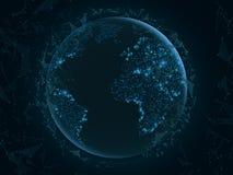Abstrakt planetjord med flygtrianglar gammal värld för illustrationöversikt blåa lampor Science fiction och high tech Plexusstil  vektor illustrationer