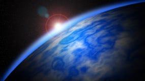 Abstrakt planettapet Färgrik avståndsbakgrund Planet och måne Stjärna i utrymmetapeten royaltyfri illustrationer