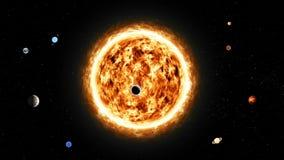 Abstrakt planety z słońcem od głębokiej przestrzeni royalty ilustracja