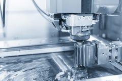 Abstrakt plats av närbilden av tråden - EDM-CNC-maskin Fotografering för Bildbyråer