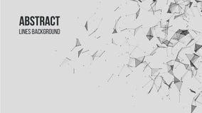 Abstrakt polygonal bakgrund med att f?rbinda pricker och fodrar Anslutningsteknologibakgrund stock illustrationer
