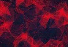 Abstrakt polygonal mörker - röd låg poly bakgrund Royaltyfria Bilder