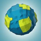 Abstrakt polygonal planet på mörker - blå bakgrund Fotografering för Bildbyråer