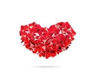 Abstrakt polygonal röd hjärta, förälskelsesymbol, Låg-poly färgrik st Arkivbild
