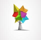 Abstrakt polygonal träd med skugga Royaltyfria Bilder