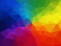 Abstrakt polygonbakgrund för vektor med en triangelmodell i mång- färg - färgrikt regnbågespektrum Royaltyfri Fotografi