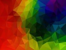 Abstrakt polygonbakgrund för vektor med en triangelmodell i mång- full spektrumregnbågefärg Arkivfoto
