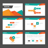 Abstrakt prezentaci szablonów Infographic Zielonych pomarańczowych elementów płaski projekt ustawia dla broszurki ulotki ulotki m Obraz Stock