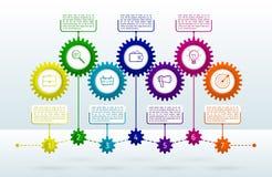 Abstrakt przygotowywa infographic z 7 krokami Mechanizm z integrat ilustracja wektor