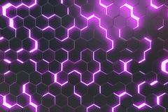 Abstrakt purpurfärgad bakgrund av futuristisk yttersida med sexhörningar framförande 3d Arkivfoto