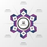 Abstrakt purpurfärgad infographic cirkel modern mall för design också vektor för coreldrawillustration Arkivfoton
