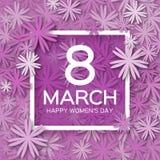 Abstrakt purpurfärgat blom- hälsningkort - internationella lyckliga kvinnors dag - 8 ferie för mars royaltyfri illustrationer