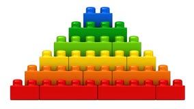 Abstrakt pyramid från plast- byggnadskvarter Arkivbild