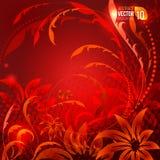 Abstrakt röd backround med dekorativ blommakrullning och halfron Vektor Illustrationer