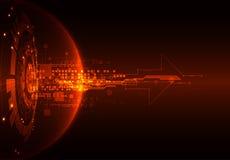 Abstrakt röd bakgrund för teknologi för digital kommunikation vektor royaltyfri illustrationer