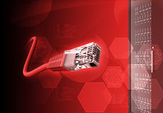 Abstrakt röd bakgrund med kabel Royaltyfri Foto