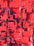 Abstrakt röd futuristisk technomodell Digital 3d illustration Royaltyfri Foto