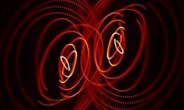 Abstrakt röd geometrisk bakgrund Anslutningsstruktur Innovativ forskning för vetenskaplig kemi Futuristisk teknologi HUD Element Arkivfoto