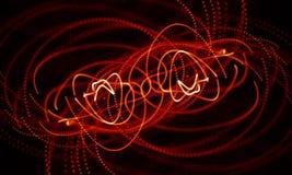 Abstrakt röd geometrisk bakgrund Anslutningsstruktur Innovativ forskning för vetenskaplig kemi Futuristisk teknologi HUD Element Arkivfoton
