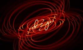Abstrakt röd geometrisk bakgrund Anslutningsstruktur Innovativ forskning för vetenskaplig kemi Futuristisk teknologi HUD Element Fotografering för Bildbyråer