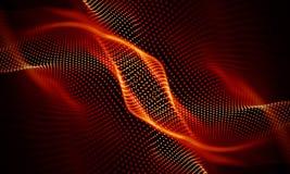 Abstrakt röd geometrisk bakgrund Anslutningsstruktur Innovativ forskning för vetenskaplig kemi Futuristisk teknologi HUD Element Arkivbilder