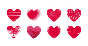 Abstrakt röd hjärta, grunge Ställ in symboler eller logoer på tema av förälskelse, bröllop, hälsa, dag för valentin` s också vekt vektor illustrationer