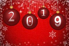 Abstrakt röd jul klumpa ihop sig med numret 2019, stjärnor och snowfla Royaltyfri Bild
