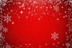 Abstrakt röd julbakgrund med stjärnor, snöflingor och lig Royaltyfri Fotografi