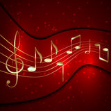 Abstrakt röd musikalisk bakgrund för vektor med guld- Arkivfoto