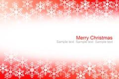 Abstrakt röd och vit snö flagar julbakgrund Arkivfoto