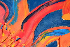 Abstrakt röd olje- målarfärg på blå bakgrund arkivfoton