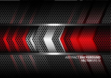 Abstrakt röd silverpil på vektor för textur för bakgrund för design för ingrepp för grå färgmetallcirkel modern royaltyfri illustrationer