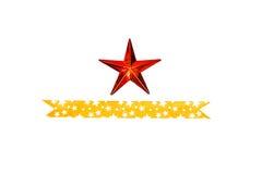 Abstrakt röd stjärna med bandet Arkivbilder