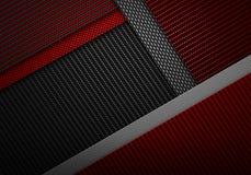 Abstrakt röd svart texturerad materiell design för kol fiber Arkivfoton