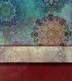 Abstrakt röd texturerad bakgrund med guld- bespruta Arkivbild