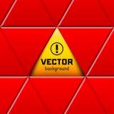 Abstrakt röd triangulär ram med det gula tecknet Arkivfoton