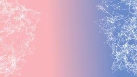 Abstrakt rörande bakgrund för titeltext i mitten Vita prickar förbindelse med linjer på den Pantone färgblandningen 2016 Rose Qua royaltyfri illustrationer