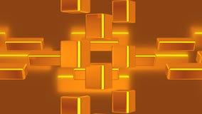 Abstrakt rörelsebakgrund med att rotera guld- kuber lager videofilmer