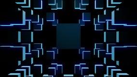 Abstrakt rörelsebakgrund som presenterar roterande kuber för blått stock illustrationer