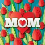 Abstrakt rött blom- hälsningkort - lycklig moderdag - mamma och röda hjärtor med gruppen av våren Arkivfoto