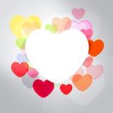Abstrakt rama z stubarwnymi sercami Zdjęcia Royalty Free