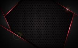Abstrakt röd ram med bakgrund för begrepp för design för mall för tech för sportar för modell för ståltexturhål modern Royaltyfria Bilder