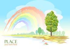 Abstrakt regnbåge- och Treebakgrund Arkivfoton