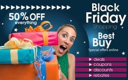 Abstrakt reklamblad för att shoppa på Black Friday handel Fotografering för Bildbyråer