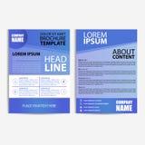 Abstrakt reklambladdesignmall med blå bakgrund Fotografering för Bildbyråer