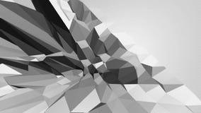 Abstrakt ren svartvit låg poly vinkande yttersida 3D som komplexitetsbakgrund Grå geometrisk vibrerande miljö stock video
